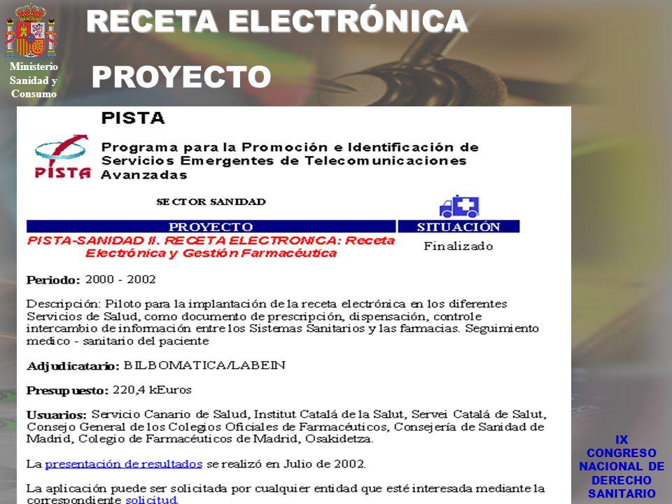 RECETA ELECTRÓNICA IX CONGRESO NACIONAL DE DERECHO SANITARIO Ministerio Sanidad y Consumo PROYECTO