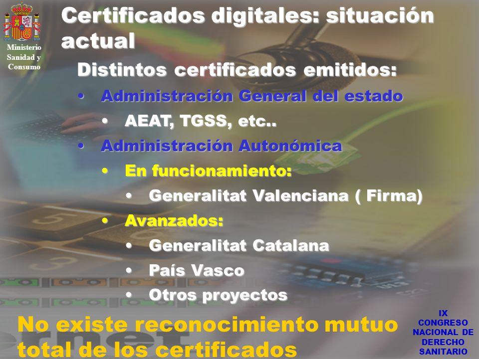 IX CONGRESO NACIONAL DE DERECHO SANITARIO Certificados digitales: situación actual Ministerio Sanidad y Consumo Distintos certificados emitidos: Admin
