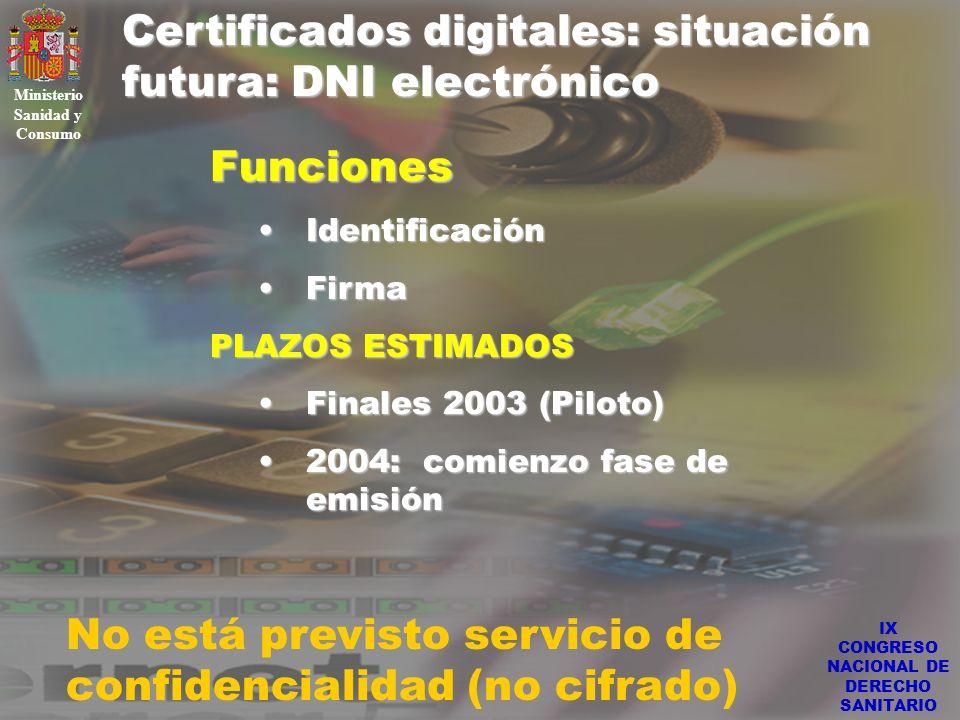 IX CONGRESO NACIONAL DE DERECHO SANITARIO Certificados digitales: situación futura: DNI electrónico Ministerio Sanidad y Consumo Funciones Identificac