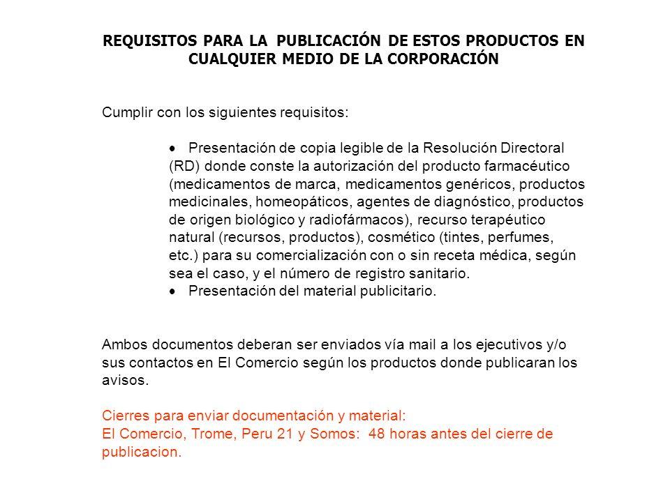 REQUISITOS PARA LA PUBLICACIÓN DE ESTOS PRODUCTOS EN CUALQUIER MEDIO DE LA CORPORACIÓN Cumplir con los siguientes requisitos: Presentación de copia le