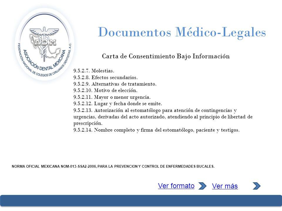 Documentos Médico-Legales Carta de Consentimiento Bajo Información 9.5.2.7. Molestias. 9.5.2.8. Efectos secundarios. 9.5.2.9. Alternativas de tratamie