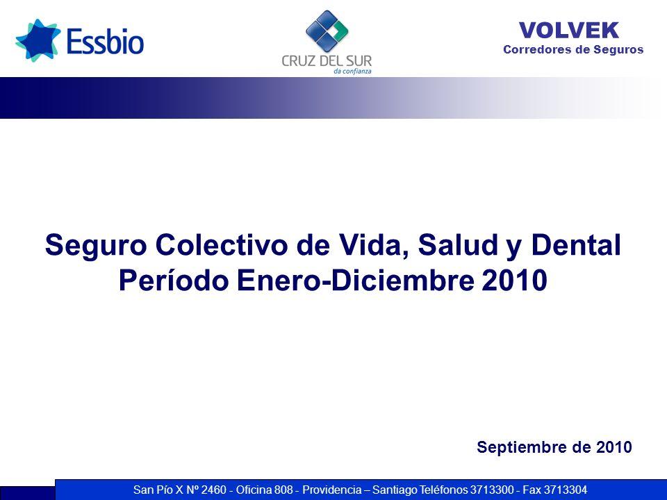 San Pío X Nº 2460 - Oficina 808 - Providencia – Santiago Teléfonos 3713300 - Fax 3713304 VOLVEK Corredores de Seguros Seguro Colectivo de Vida, Salud