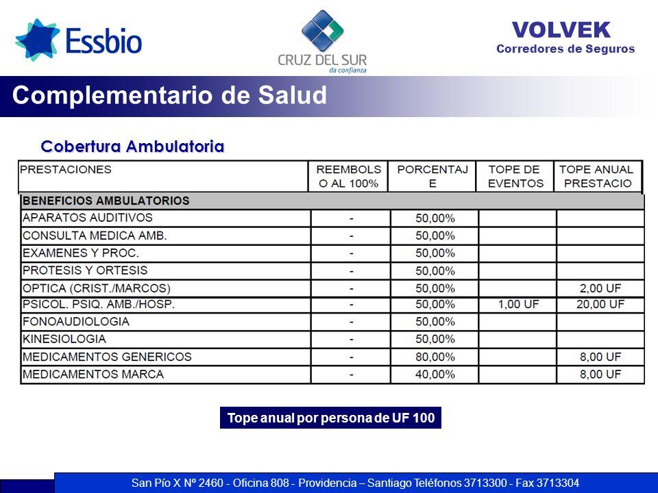 San Pío X Nº 2460 - Oficina 808 - Providencia – Santiago Teléfonos 3713300 - Fax 3713304 VOLVEK Corredores de Seguros Cobertura Ambulatoria Complement