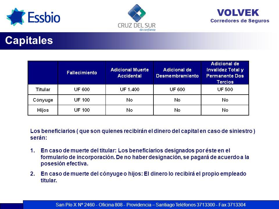 San Pío X Nº 2460 - Oficina 808 - Providencia – Santiago Teléfonos 3713300 - Fax 3713304 VOLVEK Corredores de Seguros Capitales Los beneficiarios ( qu