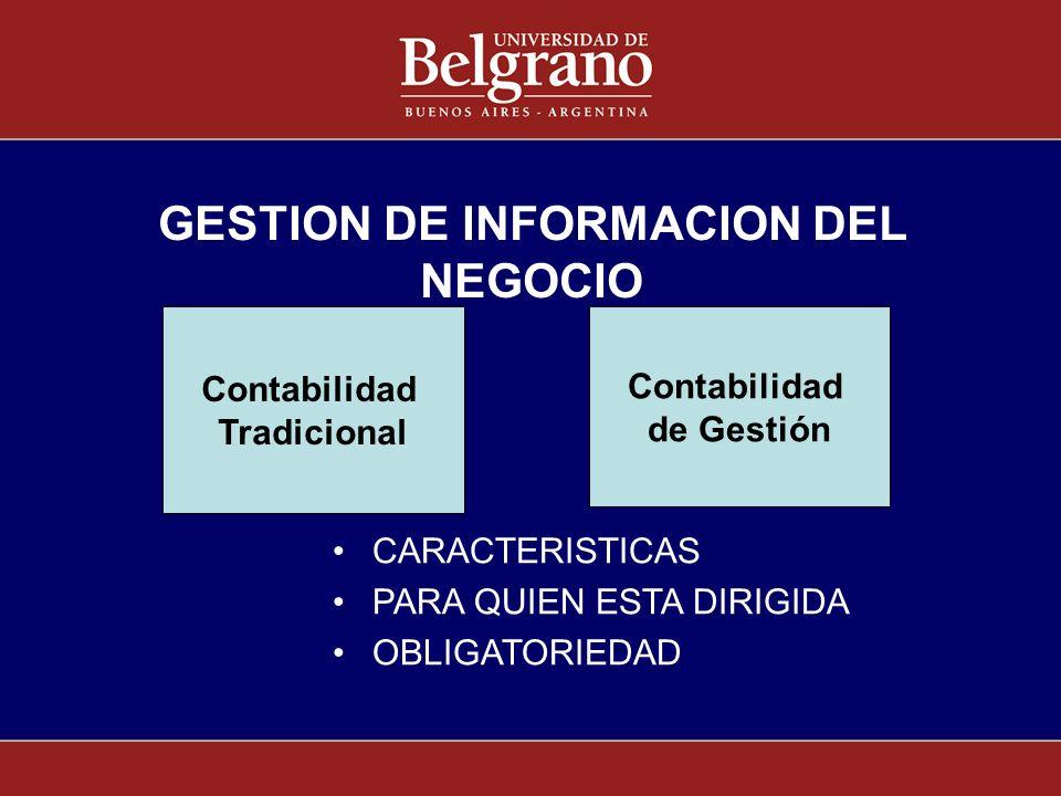 GESTION DE INFORMACION DEL NEGOCIO CARACTERISTICAS PARA QUIEN ESTA DIRIGIDA OBLIGATORIEDAD Contabilidad Tradicional Contabilidad Tradicional Contabili