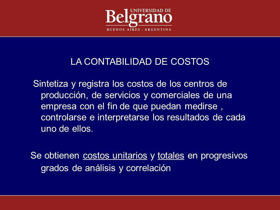 LA CONTABILIDAD DE COSTOS Sintetiza y registra los costos de los centros de producción, de servicios y comerciales de una empresa con el fin de que pu