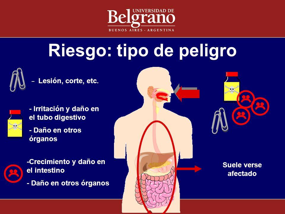 Riesgo: tipo de peligro - Lesión, corte, etc. - Irritación y daño en el tubo digestivo - Daño en otros órganos -Crecimiento y daño en el intestino - D