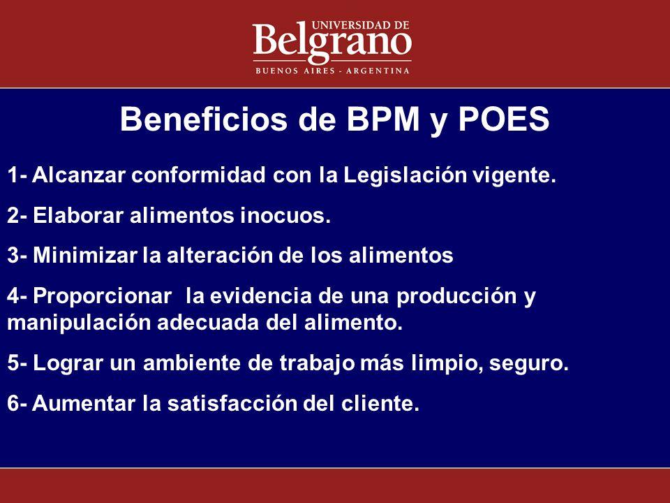 Beneficios de BPM y POES 1- Alcanzar conformidad con la Legislación vigente. 2- Elaborar alimentos inocuos. 3- Minimizar la alteración de los alimento