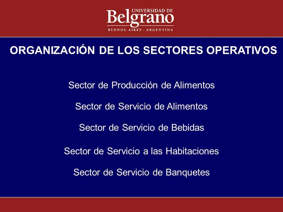 Sector de Producción de Alimentos ORGANIZACIÓN DE LOS SECTORES OPERATIVOS Sector de Servicio de Alimentos Sector de Servicio de Bebidas Sector de Serv