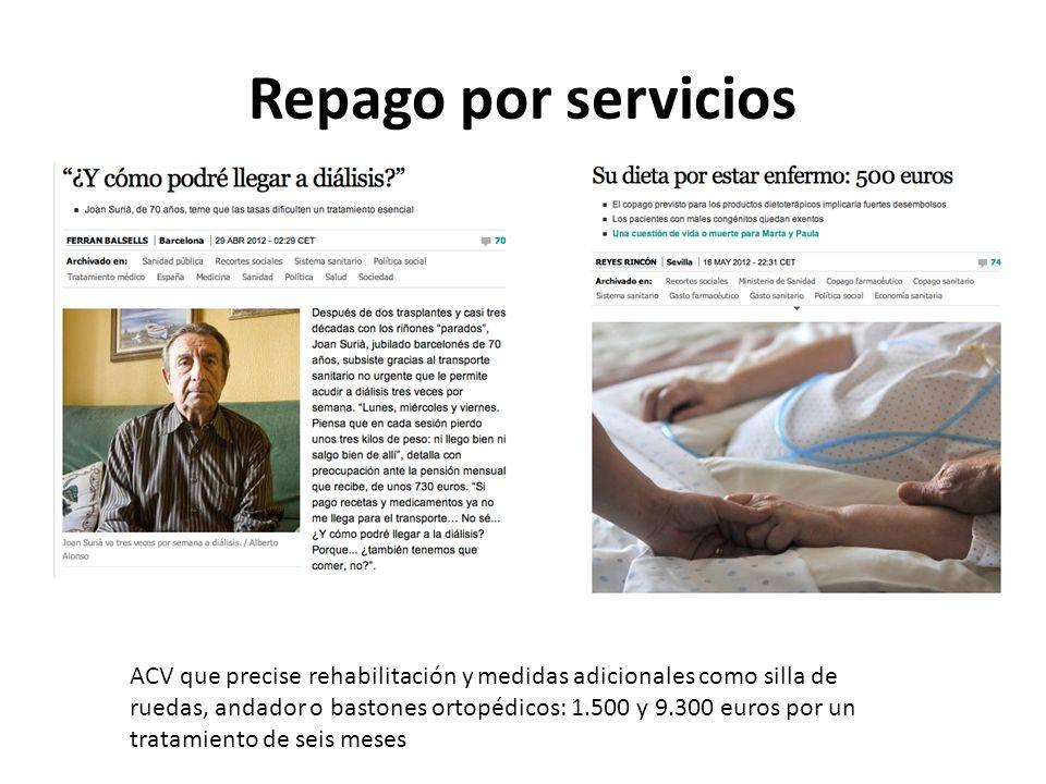 Repago por servicios ACV que precise rehabilitación y medidas adicionales como silla de ruedas, andador o bastones ortopédicos: 1.500 y 9.300 euros po