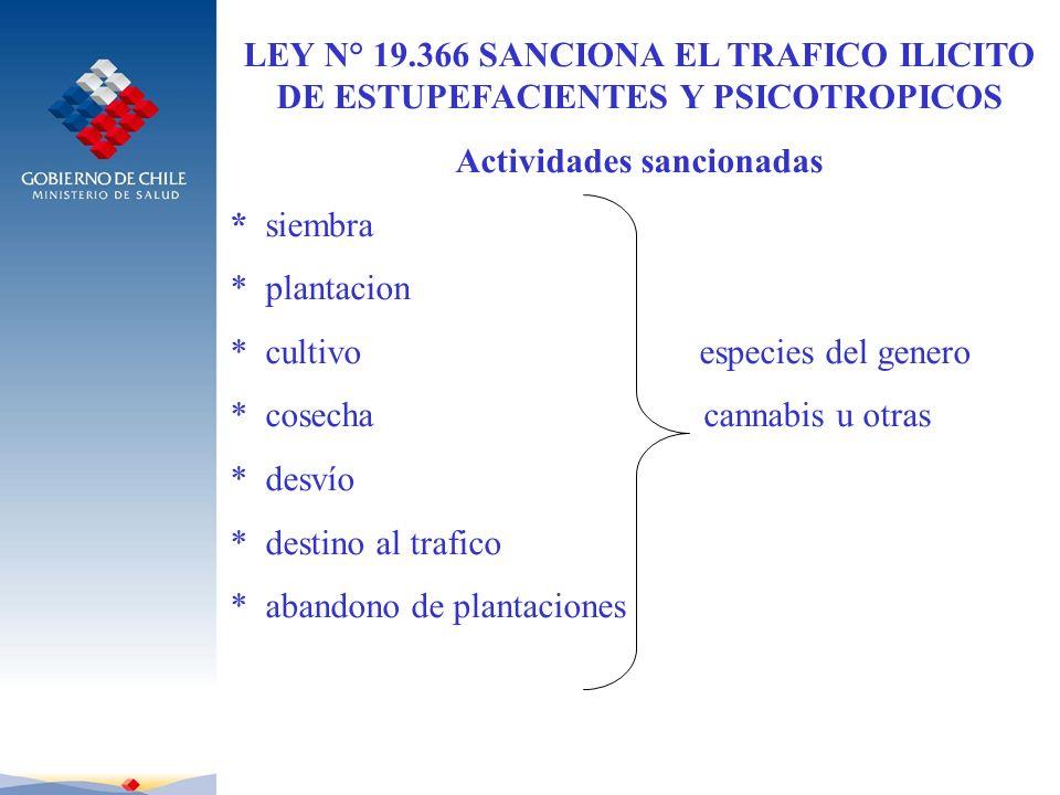 LEY N° 19.366 SANCIONA EL TRAFICO ILICITO DE ESTUPEFACIENTES Y PSICOTROPICOS Actividades sancionadas * siembra * plantacion * cultivo especies del gen