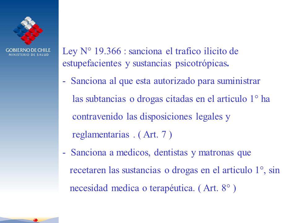 Ley N° 19.366 : sanciona el trafico ilicito de estupefacientes y sustancias psicotrópicas. - Sanciona al que esta autorizado para suministrar las subt