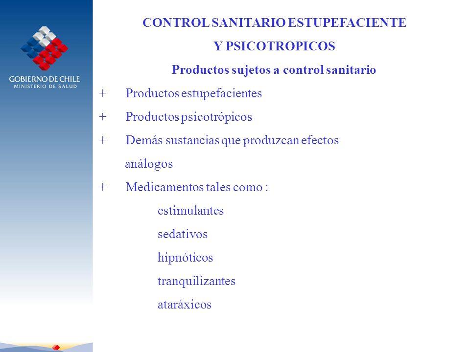 CONTROL SANITARIO ESTUPEFACIENTE Y PSICOTROPICOS Productos sujetos a control sanitario + Productos estupefacientes + Productos psicotrópicos + Demás s