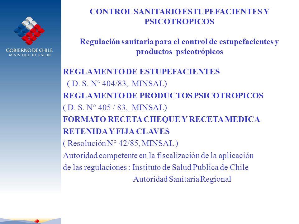 CONTROL SANITARIO ESTUPEFACIENTES Y PSICOTROPICOS Regulación sanitaria para el control de estupefacientes y productos psicotrópicos REGLAMENTO DE ESTU