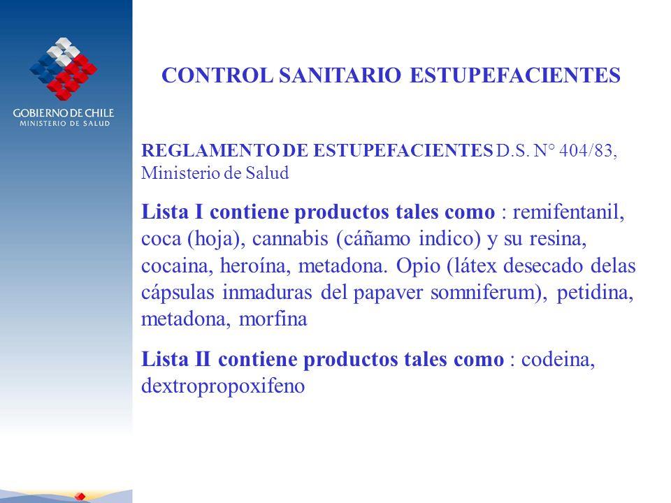 CONTROL SANITARIO ESTUPEFACIENTES REGLAMENTO DE ESTUPEFACIENTES D.S. N° 404/83, Ministerio de Salud Lista I contiene productos tales como : remifentan