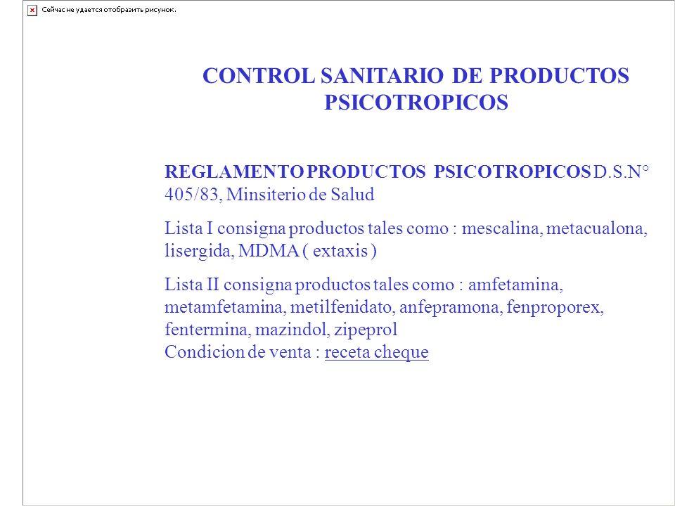 CONTROL SANITARIO DE PRODUCTOS PSICOTROPICOS REGLAMENTO PRODUCTOS PSICOTROPICOS D.S.N° 405/83, Minsiterio de Salud Lista I consigna productos tales co