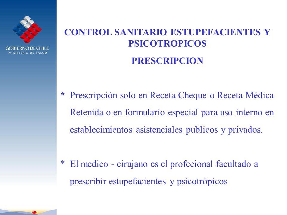 CONTROL SANITARIO ESTUPEFACIENTES Y PSICOTROPICOS PRESCRIPCION * Prescripción solo en Receta Cheque o Receta Médica Retenida o en formulario especial