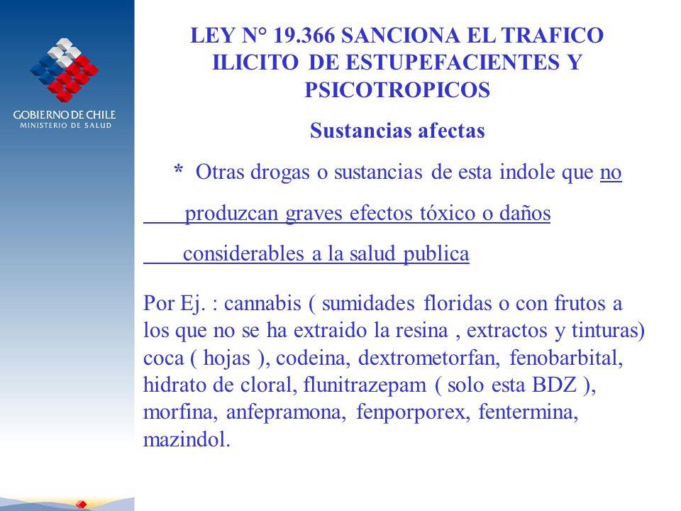 LEY N° 19.366 SANCIONA EL TRAFICO ILICITO DE ESTUPEFACIENTES Y PSICOTROPICOS Sustancias afectas * Otras drogas o sustancias de esta indole que no prod