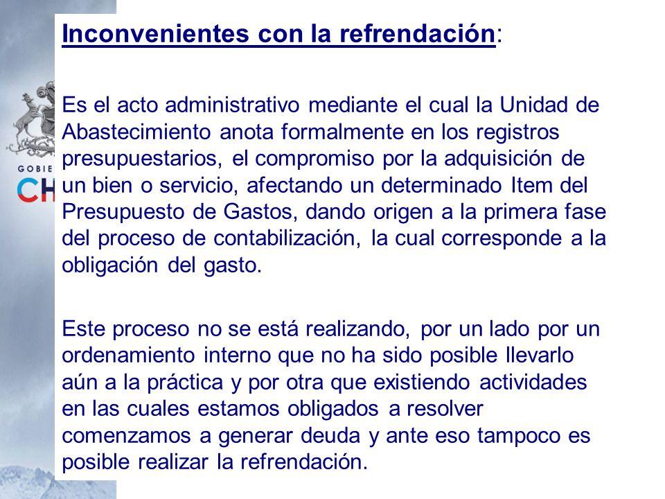 Inconvenientes con la refrendación: Es el acto administrativo mediante el cual la Unidad de Abastecimiento anota formalmente en los registros presupue