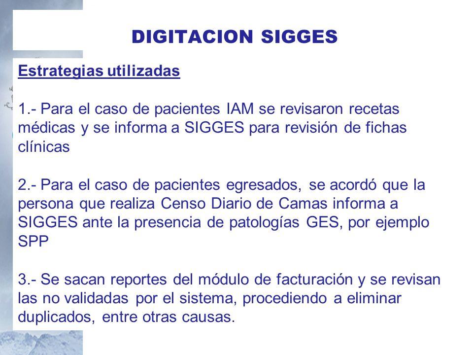 Estrategias utilizadas 1.- Para el caso de pacientes IAM se revisaron recetas médicas y se informa a SIGGES para revisión de fichas clínicas 2.- Para