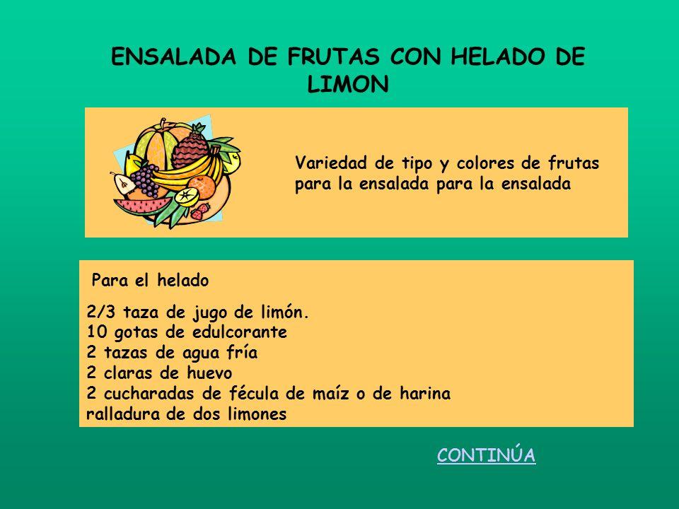 Para el helado 2/3 taza de jugo de limón. 10 gotas de edulcorante 2 tazas de agua fría 2 claras de huevo 2 cucharadas de fécula de maíz o de harina ra