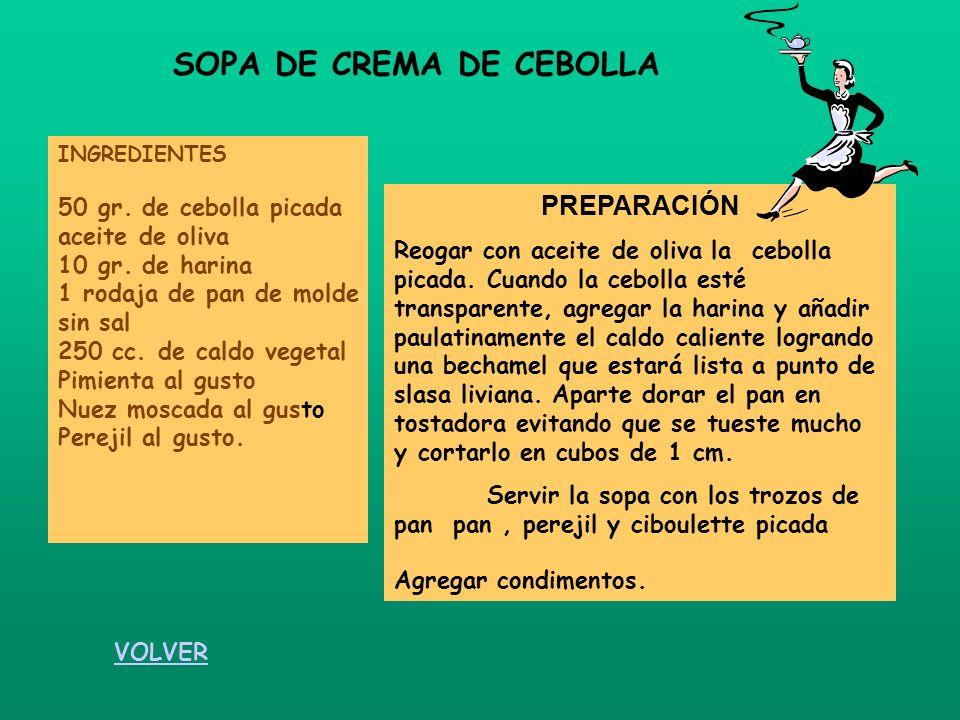 SOPA DE CREMA DE CEBOLLA INGREDIENTES 50 gr. de cebolla picada aceite de oliva 10 gr. de harina 1 rodaja de pan de molde sin sal 250 cc. de caldo vege