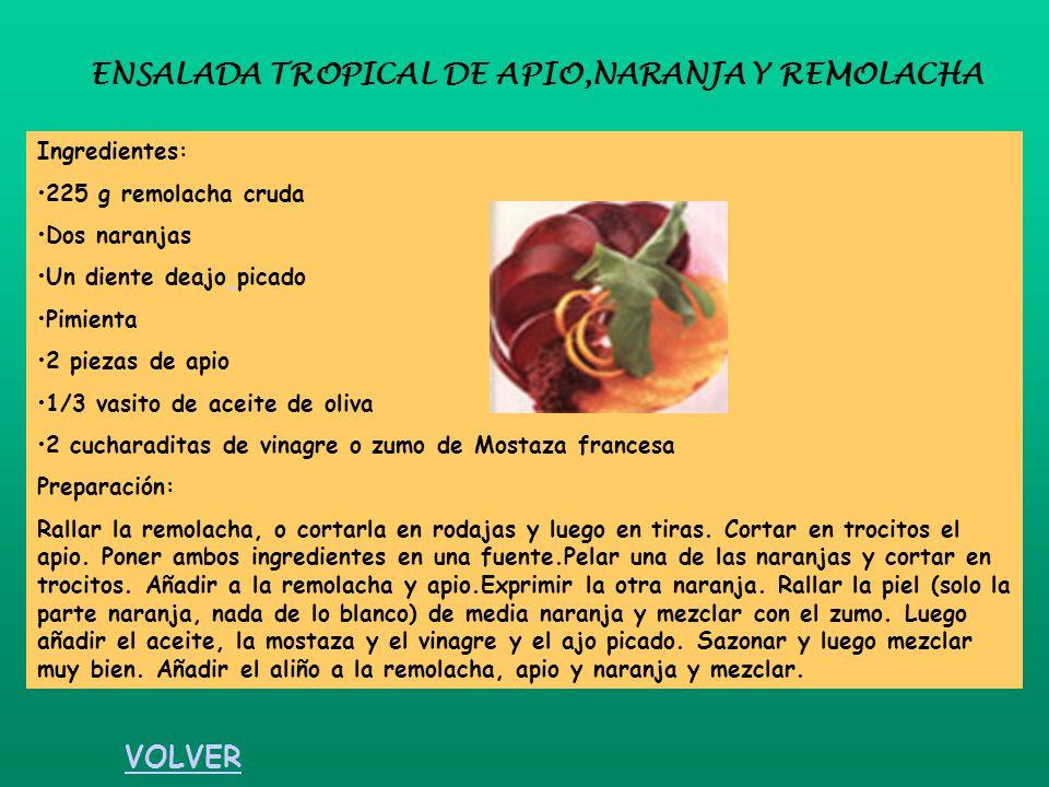 Ingredientes: 225 g remolacha cruda Dos naranjas Un diente deajo picado Pimienta 2 piezas de apio 1/3 vasito de aceite de oliva 2 cucharaditas de vina