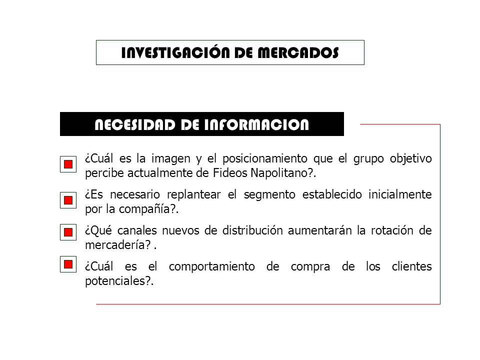 OBJETIVOS Determinar ventajas y desventajas de los puntos de venta en la ciudad de Guayaquil. Determinar el nivel de posicionamiento de fideos Napolit