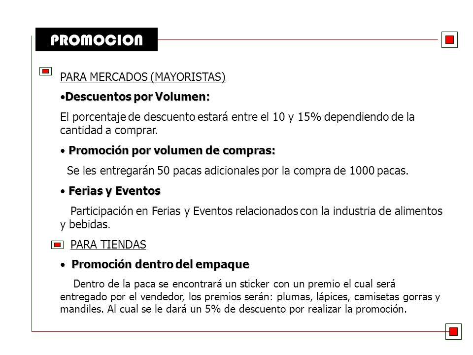 PROMOCION PARA COMISARIATOS Degustaciones Degustaciones Degustaciones del producto durante los fines de semana promocionando los nuevos sabores (albah