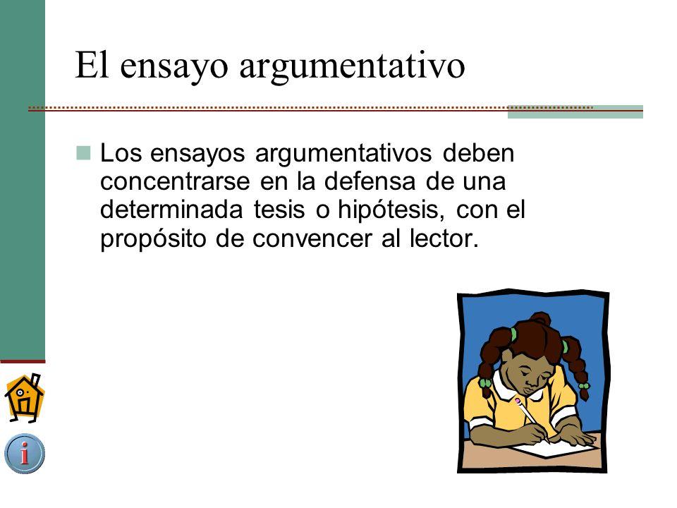 El ensayo argumentativo Los ensayos argumentativos deben concentrarse en la defensa de una determinada tesis o hipótesis, con el propósito de convencer al lector.