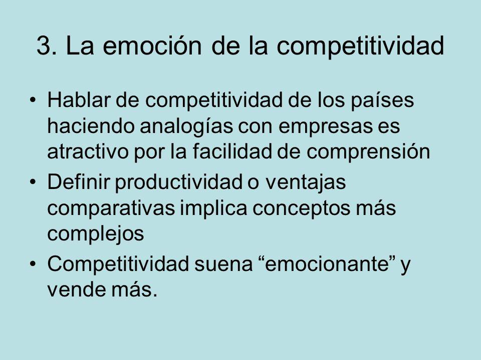 3. La emoción de la competitividad Hablar de competitividad de los países haciendo analogías con empresas es atractivo por la facilidad de comprensión