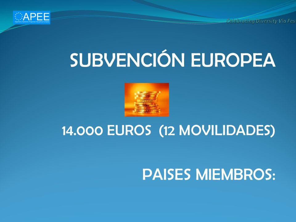 SUBVENCIÓN EUROPEA 14.000 EUROS (12 MOVILIDADES) PAISES MIEMBROS: