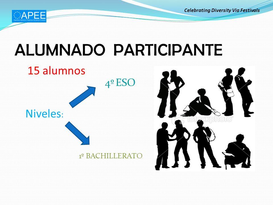 ALUMNADO PARTICIPANTE 15 alumnos Niveles : 4º ESO 1º BACHILLERATO Celebrating Diversity Via Festivals