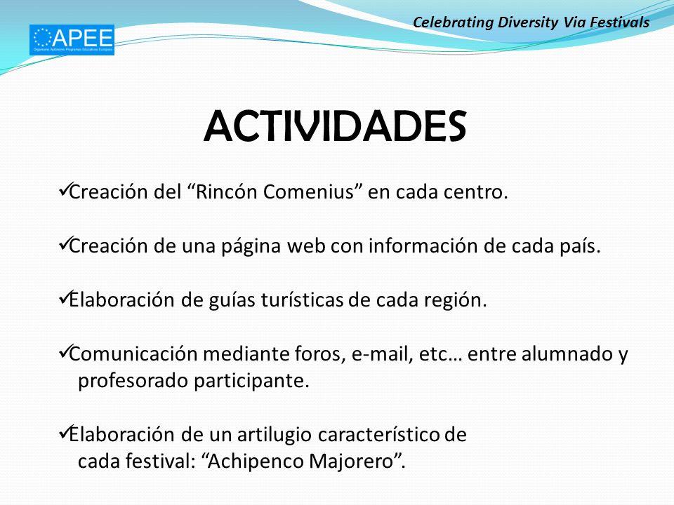 ACTIVIDADES Creación del Rincón Comenius en cada centro.