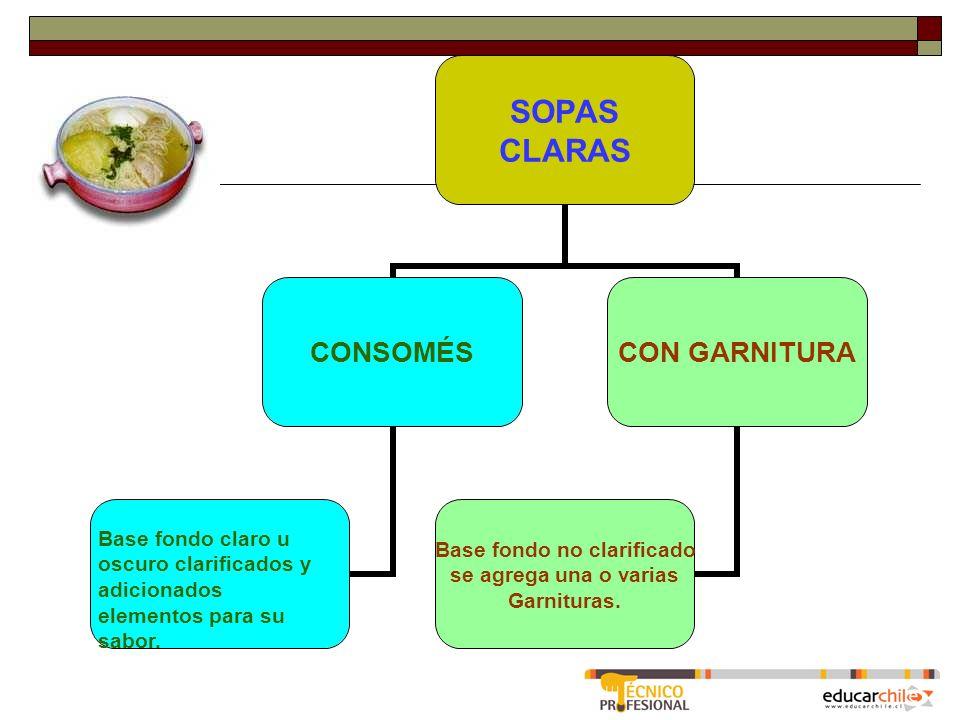 SOPAS CLARAS CONSOMÉSCON GARNITURA Base fondo no clarificado se agrega una o varias Garnituras.