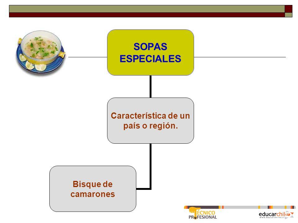 SOPAS ESPECIALES Característica de un país o región. Bisque de camarones