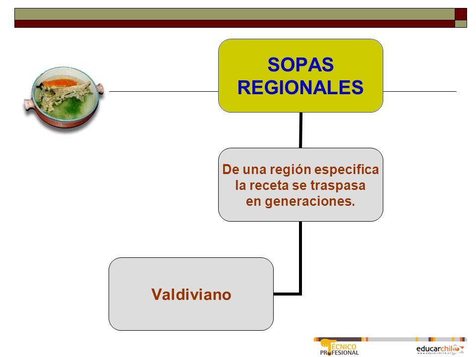 SOPAS REGIONALES De una región especifica la receta se traspasa en generaciones. Valdiviano