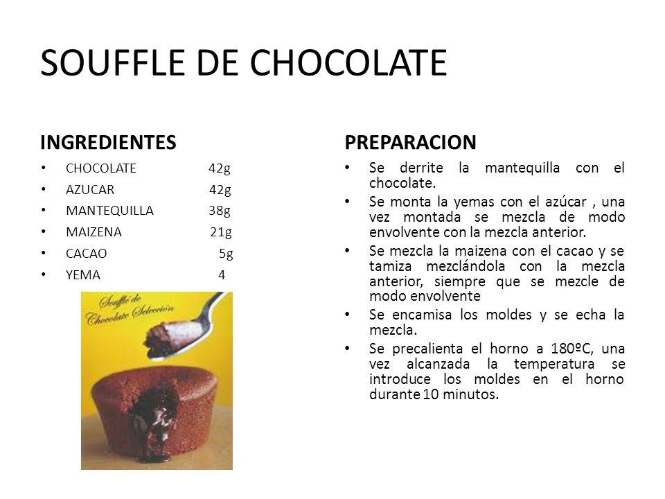 SOUFFLE DE CHOCOLATE INGREDIENTES CHOCOLATE 42g AZUCAR 42g MANTEQUILLA 38g MAIZENA 21g CACAO 5g YEMA 4 PREPARACION Se derrite la mantequilla con el ch