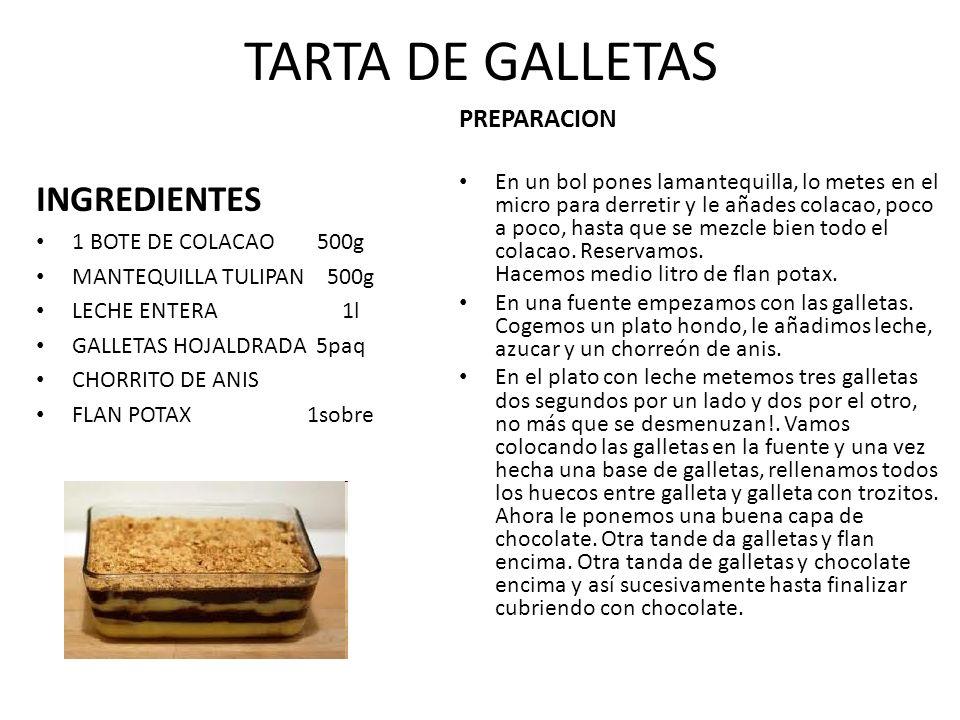 TARTA DE GALLETAS INGREDIENTES 1 BOTE DE COLACAO 500g MANTEQUILLA TULIPAN 500g LECHE ENTERA 1l GALLETAS HOJALDRADA 5paq CHORRITO DE ANIS FLAN POTAX 1s