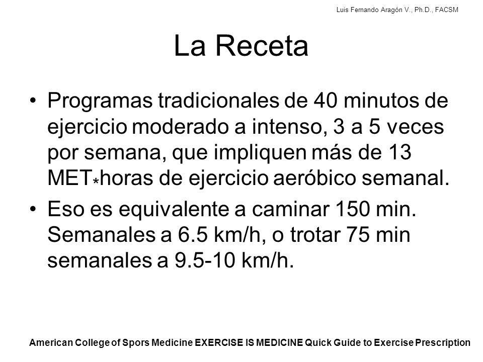 Luis Fernando Aragón V., Ph.D., FACSM La Receta Programas tradicionales de 40 minutos de ejercicio moderado a intenso, 3 a 5 veces por semana, que impliquen más de 13 MET * horas de ejercicio aeróbico semanal.