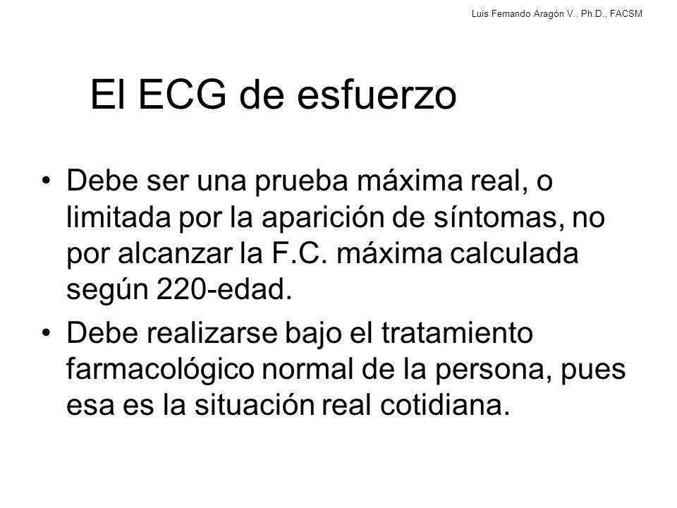 Luis Fernando Aragón V., Ph.D., FACSM El ECG de esfuerzo Debe ser una prueba máxima real, o limitada por la aparición de síntomas, no por alcanzar la F.C.