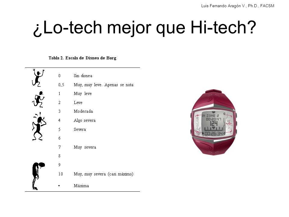 Luis Fernando Aragón V., Ph.D., FACSM ¿Lo-tech mejor que Hi-tech?
