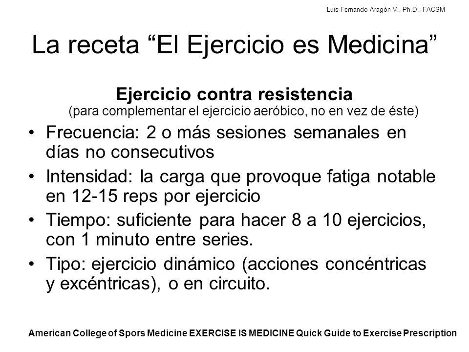 Luis Fernando Aragón V., Ph.D., FACSM La receta El Ejercicio es Medicina Ejercicio contra resistencia (para complementar el ejercicio aeróbico, no en vez de éste) Frecuencia: 2 o más sesiones semanales en días no consecutivos Intensidad: la carga que provoque fatiga notable en 12-15 reps por ejercicio Tiempo: suficiente para hacer 8 a 10 ejercicios, con 1 minuto entre series.