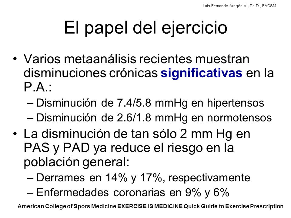Luis Fernando Aragón V., Ph.D., FACSM ACSM Position Stand: Exercise and Hypertension (2004)