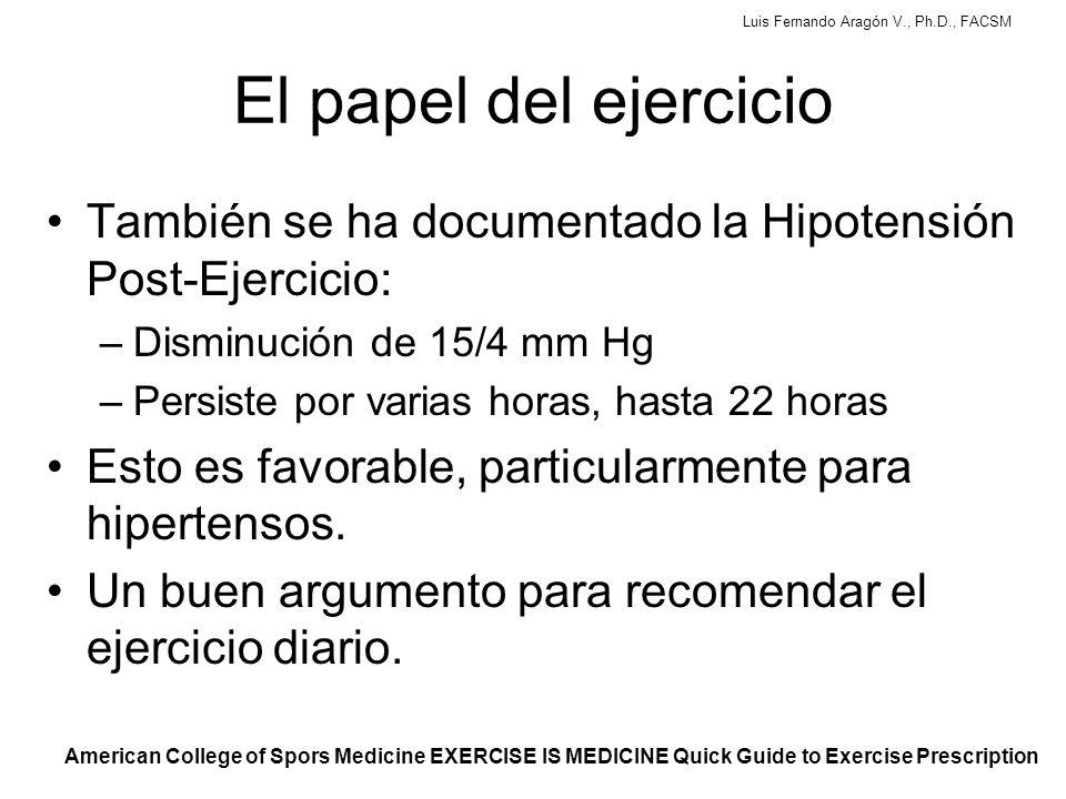 Luis Fernando Aragón V., Ph.D., FACSM El papel del ejercicio También se ha documentado la Hipotensión Post-Ejercicio: –Disminución de 15/4 mm Hg –Persiste por varias horas, hasta 22 horas Esto es favorable, particularmente para hipertensos.