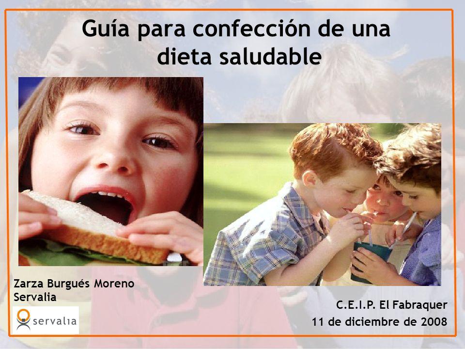 Guía para confección de una dieta saludable Zarza Burgués Moreno Servalia C.E.I.P. El Fabraquer 11 de diciembre de 2008