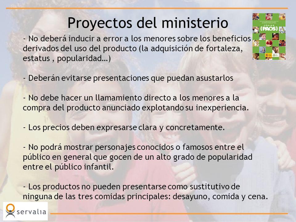Proyectos del ministerio - No deberá inducir a error a los menores sobre los beneficios derivados del uso del producto (la adquisición de fortaleza, e