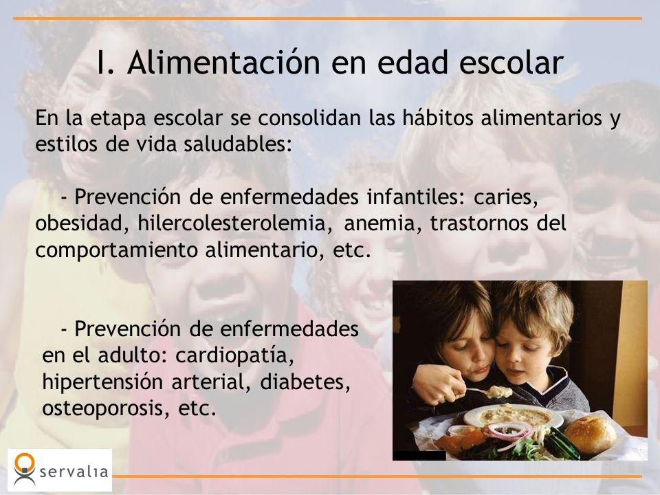I. Alimentación en edad escolar En la etapa escolar se consolidan las hábitos alimentarios y estilos de vida saludables: - Prevención de enfermedades