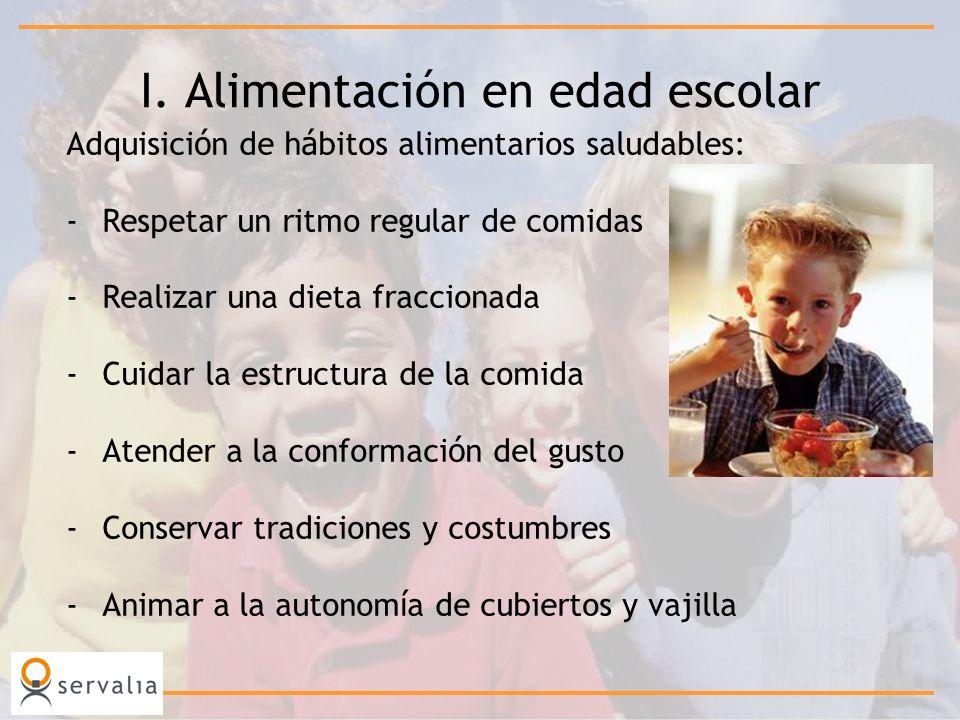 I. Alimentación en edad escolar Adquisici ó n de h á bitos alimentarios saludables: -Respetar un ritmo regular de comidas -Realizar una dieta fraccion