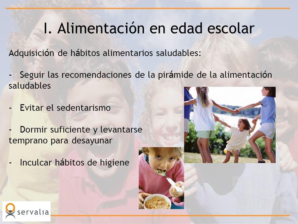 I. Alimentación en edad escolar Adquisici ó n de h á bitos alimentarios saludables: -Seguir las recomendaciones de la pir á mide de la alimentaci ó n